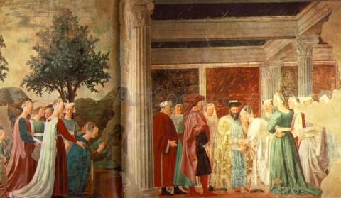 piero_della_francesca_arezzo-480x279 Adorarea lemnului sacru şi vizita reginei din Saba la Solomon, Pierro della Francesca